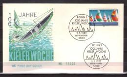 Allemagne Fédérale - First Day Cover (FDC) - 100 Jahre Kieler Woche - Bateau - Navigation - [7] Federal Republic