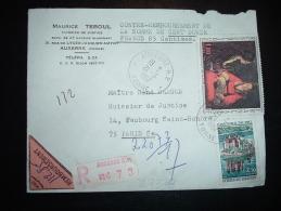 LR CR TARIF 3,30F OBL. 21-3-1967 AUXERRE RP YONNE (89) + MAURICE TEBOUL HUISSIER DE JUSTICE - Poststempel (Briefe)