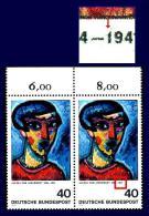 Plattenfehler BRD -   799 F  4 ** (Alexej Von Jawlensky) - Paar Mit Vergleichsstück, Postfrisch MNH - [7] République Fédérale