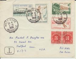 Timbres Stamps France USA Taxe Enveloppe 1958 - Etats-Unis