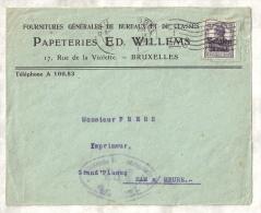 Enveloppe à En-tête Des PAPETERIES ED. WILLEMS à BRUXELLES Vers M. Frère, IMPRIMEUR à HAM-SUR-HEURE, 1918 - Printing & Stationeries