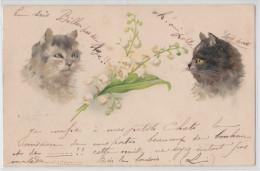 Cpa Pionnière Dessin Couple De Chats 1901 - Chat - Muguet - Cat - Katze - Katzen