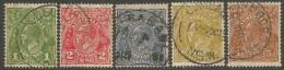 Australia   1931-36  sc#114, 116-20  used  wmk 228   2013 scott value $7.45