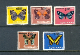 SURINAM * SERIE 5v 1977 AIRMAIL OVERPRINT * BUTTERFLIES BUTTERFLY MARIPOSA PAPILLON * MNH