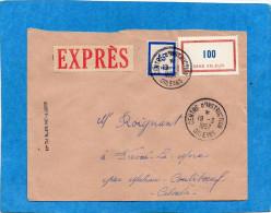 """MARCOPHILIE """" LETTRE EXPRES"""" Oblitération Cad CENTRE D'INSTRUCTION Orleans 1957-sur Timbres  Sans Valeur - Marcophilie (Lettres)"""
