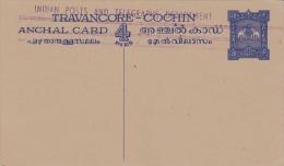 """COCHIN (Südindischer Fürstenstaat) 1895? - Seltene 4 Pies Ganzsache Mit Aufdruck """"Indian Posts And Telegraphs Department - Cochin"""