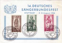 Deutschland 1956 - 3 Fach Frankierung Auf Pk 14.Deutsches Sängerbundfest - [7] Federal Republic