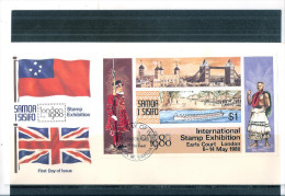 FDC From Samoa With Bloc International Stamp Exhibition London1980 (to See) - Samoa