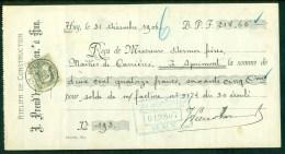 78 Sur Reçu De 214,65 Fr Oblitération HUY (R.MONTMORENCY) Le 31-DECE-1906 (lot 618) - 1905 Barba Grossa
