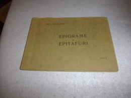 EPIGRAME şi EPITAFURI 1925 ION I. PAVELESCU : Roumanie, România, Român, Romanesc - Books, Magazines, Comics