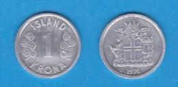 ICELAND / ISLANDIA   1  CORONA  1.976  Aluminio KM#23  VF/MBC    DL-11.059 - Islandia