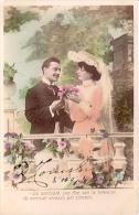 """PAREJA DE ENAMORADOS-PAIR OF LOVERS """"CORAZÓN POR CORAZÓN"""" PAS ÉMIS NOT ISSUED VOYAGÉE VIAJADA 1907 GECKO. - Koppels"""