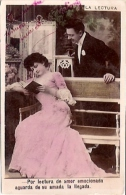 "PAREJA DE ENAMORADOS-PAIR OF LOVERS ""LA LECTURA"" PAS ÉMIS NOT ISSUED VOYAGÉE VIAJADA CIRCA 1907 GECKO. - Koppels"