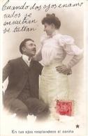 PAREJA COUPLE PAAR MA MOITIÉ LOVERS BOYFRIENDS NOVIOS GROOMS Nº 900 ED.I.P.S VOYAGÉE CIRCA 1910 TIMBRE ARRACHES GECKO. - Koppels