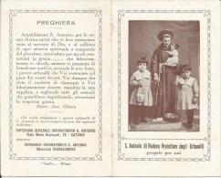 CALENDARIETTO S. ANTONIO DI PADOVA PROTETTORE ORFANELLI CATANIA ROCCALUMERA 1941 - Calendriers