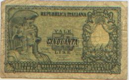 Billet De Banque, Banknote, Biglietto Di Banca, Bankbiljet, Italie Repubblica Italiana Biglietto Di Stato Cinquanta Lire - [ 2] 1946-… : Républic
