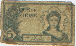 Billet De Banque, Banknote, Biglietto Di Banca, Bankbiljet, Banque De L'Algérie, Cinq Francs, 1942, Billet Très Usagé - Algérie
