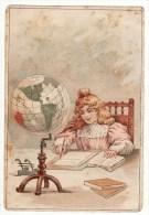 Chromo Pétrole De Dunkerque Etendard Mappemonde Globe Terrestre Fille Fillette écolière Devoirs - Trade Cards