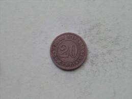 1894 KB - 20 Centesimi / KM 28.1 ( Uncleaned - Details Zie Foto´s ) ! - 1861-1946 : Royaume