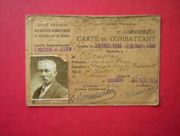MILITARIA  CARTE DU COMBATTANT   1934 - France