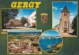GERGY 71 MULTIVUES EGLISE PONT FOYER  BELLE CARTE RARE !!! - Autres Communes