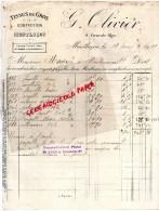 03 - MONTLUCON - FACTURE TISSUS EN GROS CONFECTION- G. OLIVIER - 4 GRANDE RUE -1921 - France