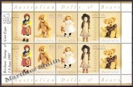 Australie - Australia 1997 Yvert 1583-87, Dolls & Bears - Sheetlet Overprinted Brisbane - MNH - Sheets, Plate Blocks &  Multiples