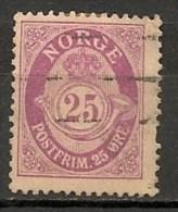 Timbres - Norvège - 1910 - 25 Ore -