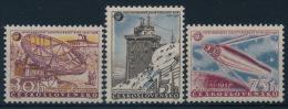 **Czechoslovakia 1957 Mi 1055-57 (3) Telescope Satellite Geophysics MNH - Tschechoslowakei/CSSR