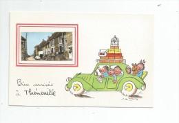 Cp , 03 , Bien Arrivés à THENEUILLE , Voiture , Chien ,  , Signée Illustrateur: Jean De Preissac - Autres Communes