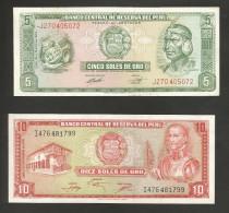 PERU' - BANCO CENTRAL De RESERVA Del PERU' - 5 & 10 SOLES De ORO (1974 / 1976) - LOT Of 2 DIFFERENT BANKNOTES - Pérou