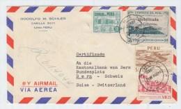 Peru/Switzerland REGISTERED AIRMAIL COVER 1952 - Peru