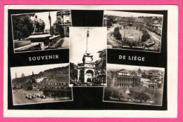 """Souvenir De Liège - Multivues - Gare - Place St-Lambert - Terrasses D'Avroy - Cachet: """" Expo Hotel"""" - ROUF - 1954 - Liege"""