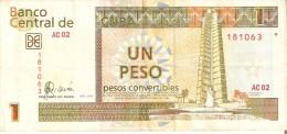 BILLETE DE CUBA DE 1 PESO CONVERTIBLE DEL A�O 2007  (BANKNOTE)