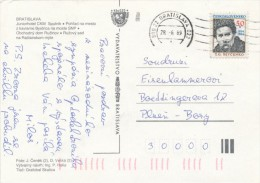 I8888 - Czechoslovakia (1989) 800 22 Bratislava 022 (1); Stamp: Taras Shevchenko (1814-1861) Ukrainian Poet - Beroemde Personen