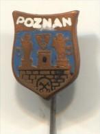 POZNAN, Poland, Blason, Coat Of Arms, Vintage Pin, Badge, Enamel - Städte
