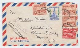 Peru/Czechoslovakia REGISTERED AIRMAIL COVER 1950 - Peru