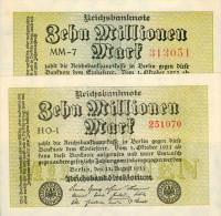 Deutschland, Germany - 2 X 10 Mio. Mark, Reichsbanknote, Ro. 105 A, UNC-, 1923 ! - 1918-1933: Weimarer Republik