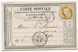 FRANCE CARTE PRECURSEUR AFFRANCHIE AVEC N°55 OBLITERATION EURVILLE 30 MARS 76 ARRIVEE L´AIGLE 31 MARS 76 - Postmark Collection (Covers)