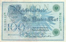 Deutschland, Germany - 100 Mark, Reichsbanknote, Ro. 34 ,  ( Serie N/M  ) VF, 1908 ! - 1871-1918: Deutsches Kaiserreich