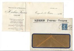 Enveloppe Et Courrier  PUBLICITAIRE HERBIN Frères Manufature De Bonneterie  TROYES 10 Type Semeuse 25c Bleu Cachet - 1903-60 Semeuse Lignée