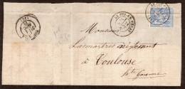 FRANCE   - N°  68  -   Sage 1ère émission - D9p  - Oblitéré Sur Fragment Lettre - 1876-1878 Sage (Type I)
