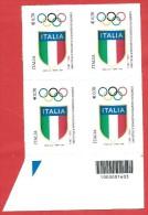 ITALIA REPUBBLICA QUARTINA BARRE DX - 2014 - Centenario Della Fondazione Del CONI - € 0,70 - S. 3487 - Códigos De Barras