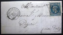 GC 3979 Sur 29A + Cachet Type 15  --  VITRY LE FRANCOIS  --  MARNE  --  LAC  --  1868 - Marcophilie (Lettres)