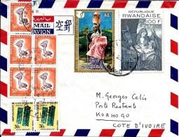 RWANDA N° 429A + 669 KIGALI Sur L. AVION V. KORHOGO (Côte D' IVOIRE). TAXEE 310 F CFA Par TTx Ivoiriens 33(2)-36(5).TB - Autres