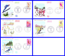 Série De 5 FDC (GF-PJ) - Jeux Olympiques D'hiver Grenoble - 1543-1544-1545-1546-1547 (Yvert) - France 1968 - FDC