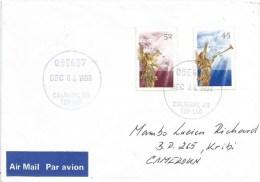 Canada 1998 Calgary Christmas Angles Cover To Kribi Cameroun - 1952-.... Regering Van Elizabeth II