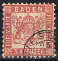 Sello 3 Kr BADEN, Antiguo Estado Aleman, Fechador WIESLOCH,  Num 54 º - Baden