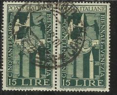 ITALIA REPUBBLICA ITALY REPUBLIC 1949 BIENNALE D´ARTE DI VENEZIA LIRE 15 COPPIA USATA - PAIR USED - OBLITERE´ - 6. 1946-.. República