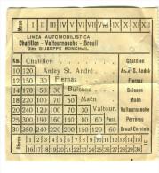 biglietto autolinee Chatillon - Valtournanche - Breuil anni �50-�60